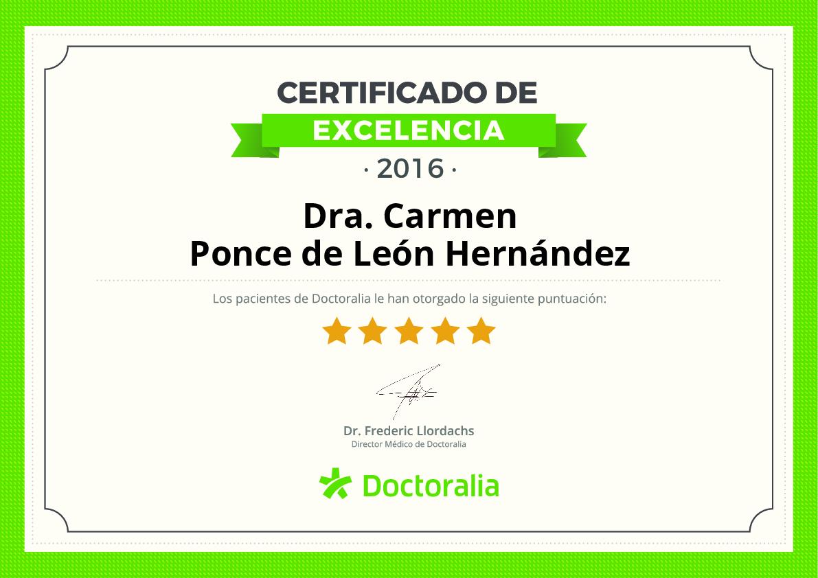 Certificado de Doctoralia a Carmen Ponce de León